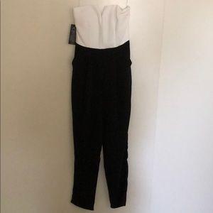 AX Paris Pants - AX Paris Women's Contrast Plunge Front Jumpsuit